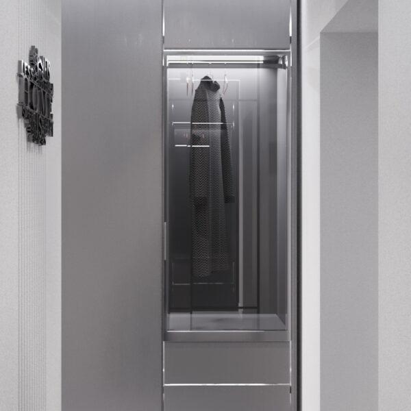 """Дизайн-проект інтер'єру однокімнатної квартири ЖК """"Лазурний"""", передпокій вид на шафу"""