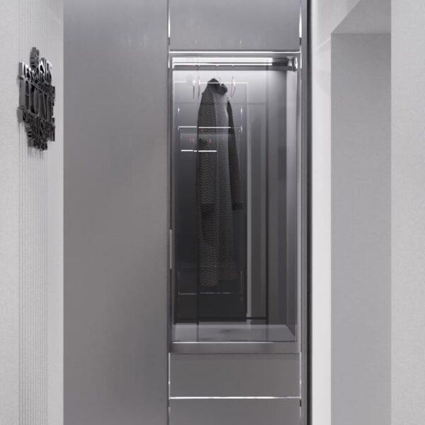 """Дизайн-проект интерьера однокомнатной квартиры ЖК """"Лазурный"""", прихожая вид на шкаф"""
