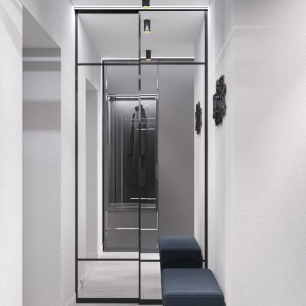 """Дизайн-проект інтер'єру однокімнатної квартири ЖК """"Лазурний"""", передпокій вид на дзеркало"""