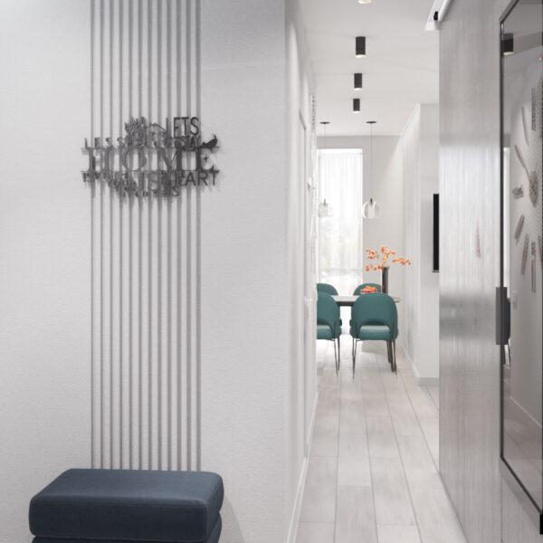 """Дизайн-проект інтер'єру однокімнатної квартири ЖК """"Лазурний"""", передпокій з видом на коридор"""