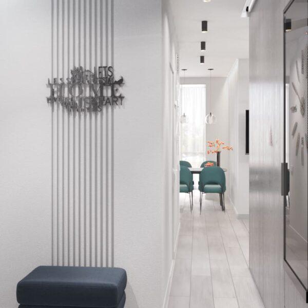 """Дизайн-проект интерьера однокомнатной квартиры ЖК """"Лазурный"""", прихожая вид на коридор"""