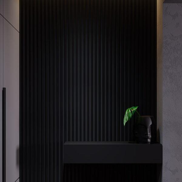 Дизайн-проект интерьера квартиры ЖК «Московский», прихожая вид на тумбу