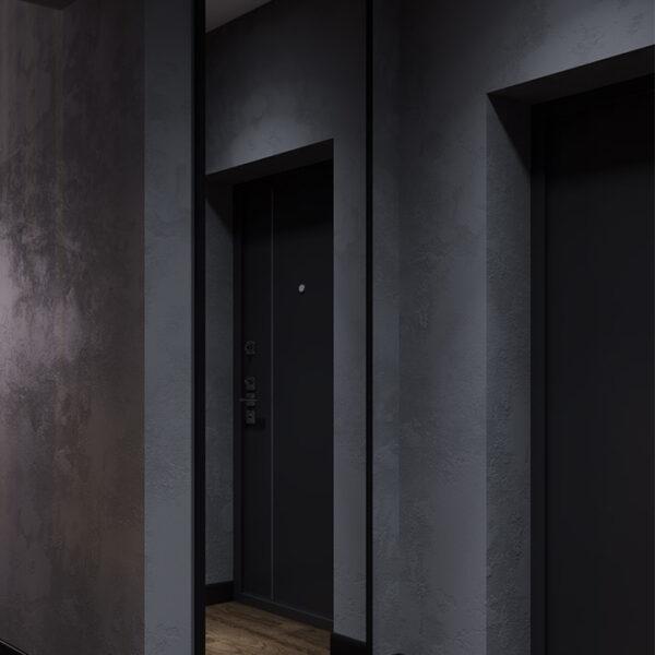 Дизайн-проект интерьера квартиры ЖК «Московский», прихожая вид на зеркало