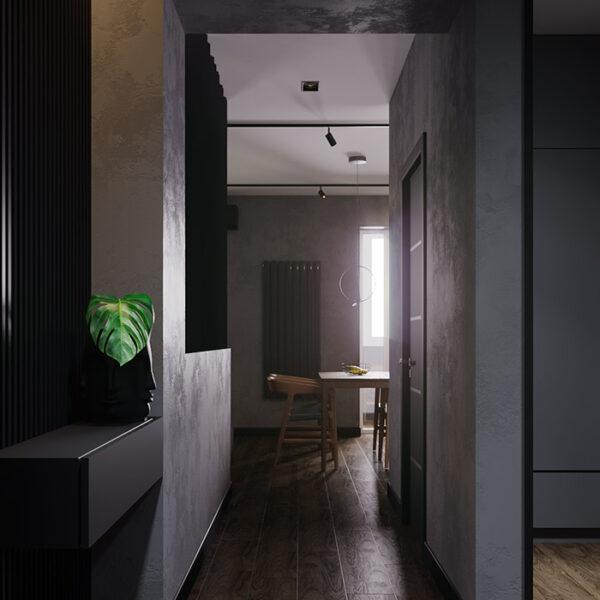 Дизайн-проект интерьера квартиры ЖК «Московский», прихожая вид на коридор