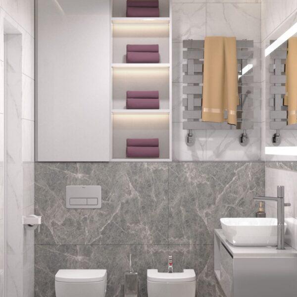 """Дизайн-проект інтер'єру однокімнатної квартири ЖК """"Лазурний"""", санвузол вид на сантехніку"""