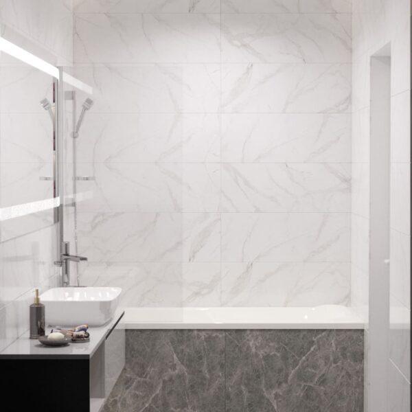 """Дизайн-проект інтер'єру однокімнатної квартири ЖК """"Лазурний"""", санвузол з видом на душову"""