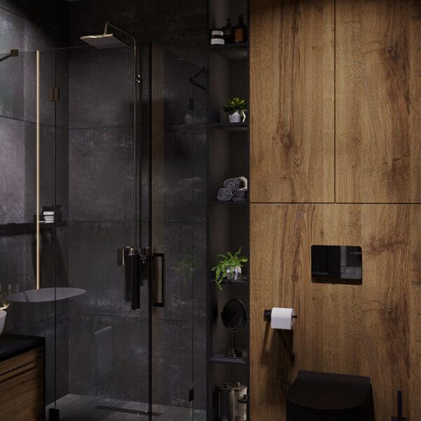 """Дизайн-проект інтер'єра квартири ЖК """"Московський"""", санвузол вид на душову кабіну"""
