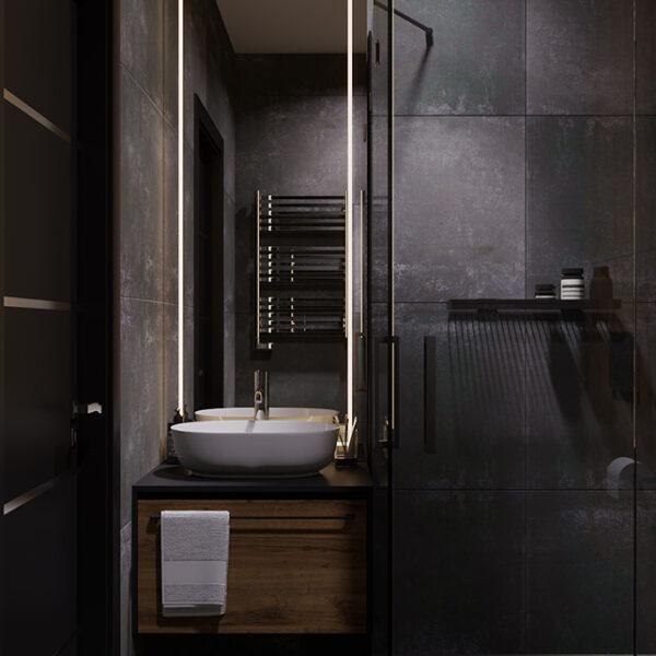 Дизайн-проект интерьера квартиры ЖК «Московский», санузел вид на зеркало