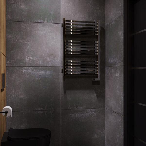 Дизайн-проект интерьера квартиры ЖК «Московский», санузел вид на вешалку для полотенец