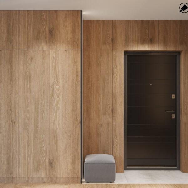 """Дизайн-проект интерьера квартиры ЖК """"Сказка"""", прихожая вид на вход"""