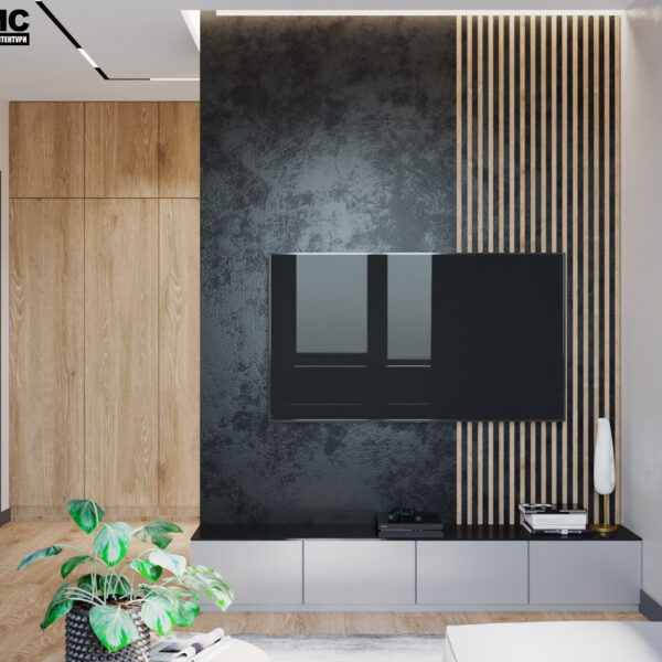 """Дизайн-проект интерьера квартиры ЖК """"Сказка"""", кухня-гостиная вид на телевизор"""