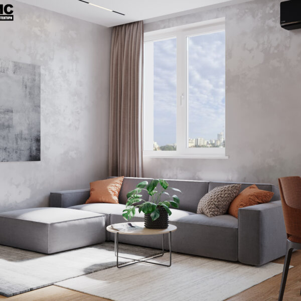 """Дизайн-проект интерьера квартиры ЖК """"Сказка"""", кухня-гостиная вид на диван"""