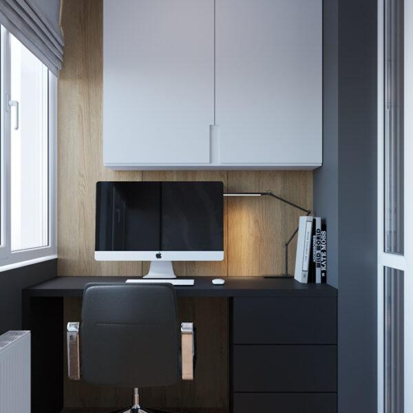 """Дизайн-проект интерьера квартиры ЖК """"Сказка"""", лоджия вид на рабочую зону правая сторона"""