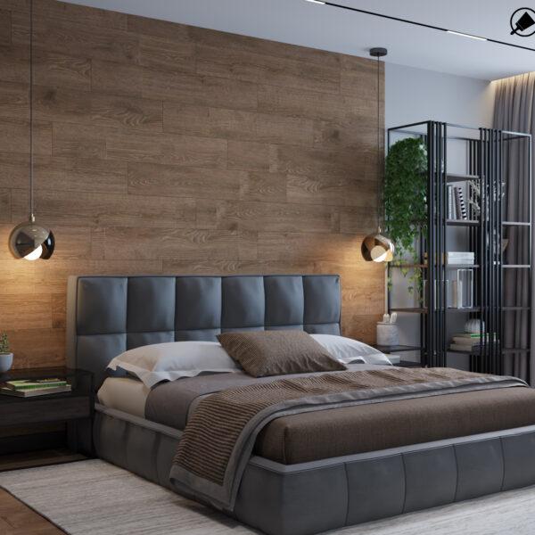 """Дизайн-проект интерьера квартиры ЖК """"Сказка"""", спальня вид на кровать"""
