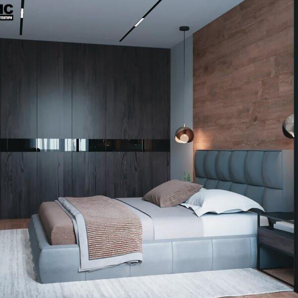 """Дизайн-проект интерьера квартиры ЖК """"Сказка"""", спальня вид на кровать и шкаф"""