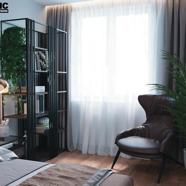 """Дизайн-проект интерьера квартиры ЖК """"Сказка"""" ,спальня вид на окно"""
