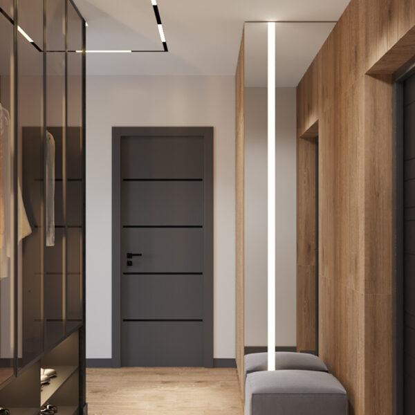 """Дизайн-проект интерьера квартиры ЖК """"Сказка"""", прихожая вид на коридор"""