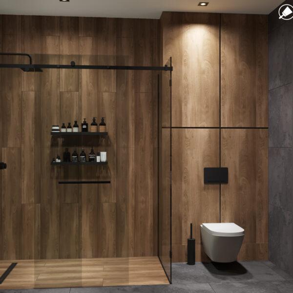 """Дизайн-проеку інтер'єру квартири ЖК """"Казка"""" ,санвузол вид на душову кабіну"""