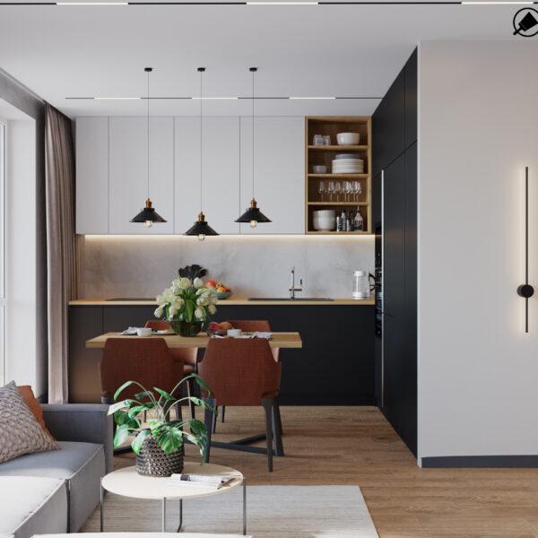 """Дизайн-проеку інтер'єру квартири ЖК """"Казка"""", кухня-вітальня вид в цілому"""