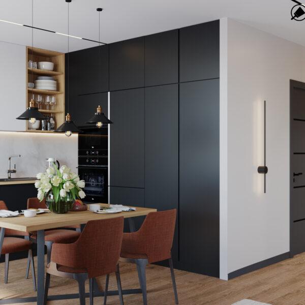 """Дизайн-проект интерьера квартиры ЖК """"Сказка"""", кухня-гостиная вид под углом"""
