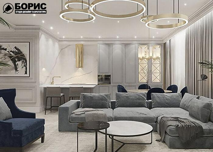 Дизайн інтер'єру трикімнатної квартири, вітальня