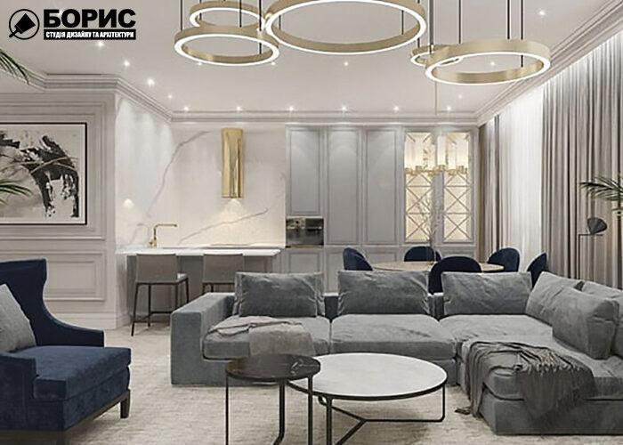 Дизайн интерьера трехкомнатной квартиры, гостиная