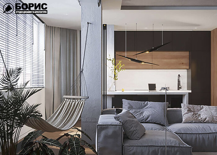 Дизайн інтер'єру трикімнатної квартири, вітальня, лоджія