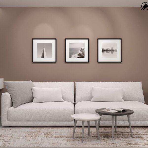 Дизайн-проект интерьера квартиры по улице Полтавский Шлях, прихожая с видом на диван