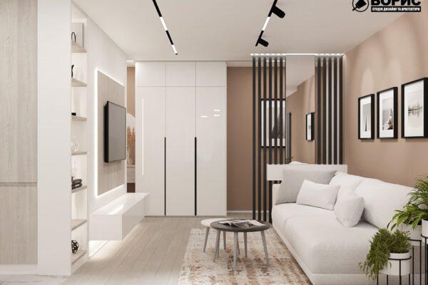 Дизайн-проект интерьера квартиры по улице Полтавский Шлях, прихожая с мебелью