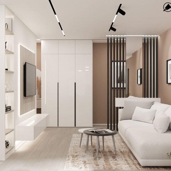 Дизайн-проект інтер'єру квартири по вулиці Полтавський Шлях, передпокій с видом на диваани мебель