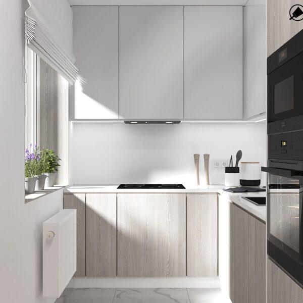 Дизайн-проект інтер'єру квартири по вулиці Полтавський Шлях, кухня з видом праворуч