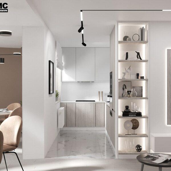 Дизайн-проект інтер'єру квартири по вулиці Полтавський Шлях, вітальня з видом на кухню