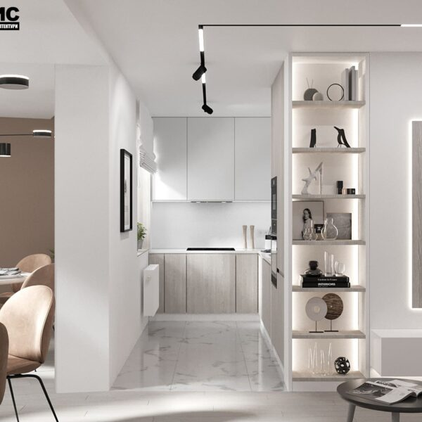 Дизайн-проект интерьера квартиры по улице Полтавский Шлях, гостиная с видом на кухня