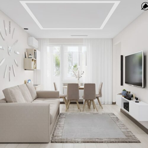 Дизайн-проект інтер'єру квартири по пр. Науки, вітальня з видом на вікно