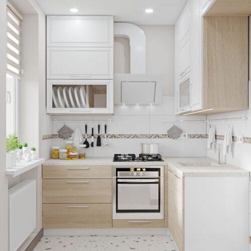 Дизайн-проект интерьера квартиры по пр. Науки, кухня с видом на рабочую зону