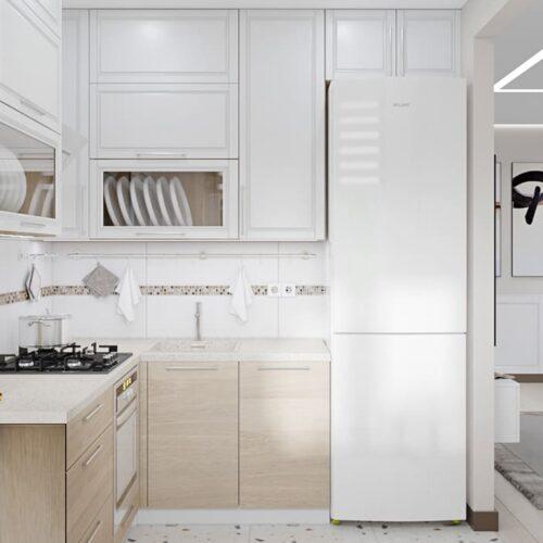 Дизайн-проект интерьера квартиры по пр. Науки, кухня с видом на холодильник