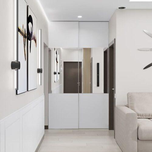 Дизайн-проект інтер'єру квартири по пр. Науки, вітальня з видом на коридор