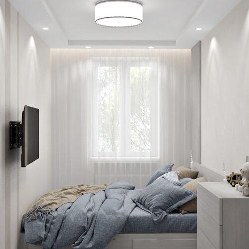 Дизайн-проект интерьера квартиры по пр. Науки, спальня с видом на окно