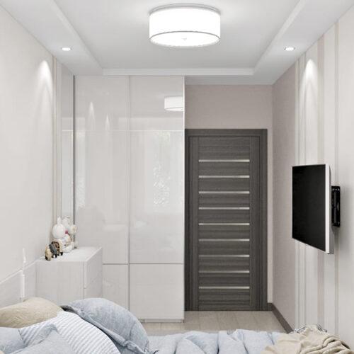 Дизайн-проект интерьера квартиры по пр. Науки, спальня с видом на дверь