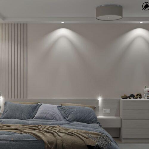 Дизайн-проект интерьера квартиры по пр. Науки, спальня с искусственным светом