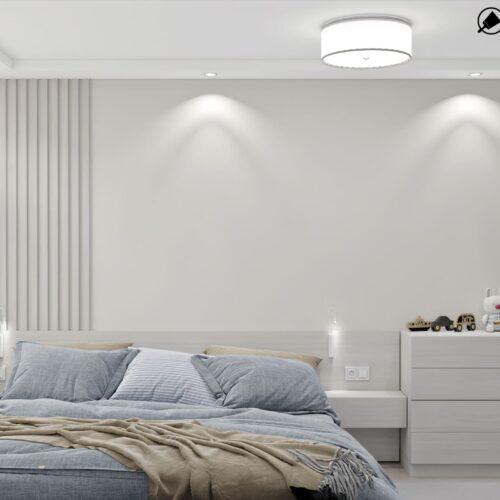 Дизайн-проект інтер'єру квартири по пр. Науки, спальня зі штучним світлом