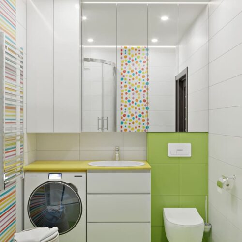 Дизайн-проект интерьера квартиры по пр. Науки .санузел с видом на технику