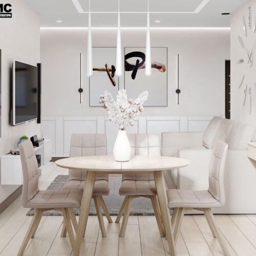 Дизайн-проект інтер'єру квартири по пр. Науки, вітальня зі столом та стільцями
