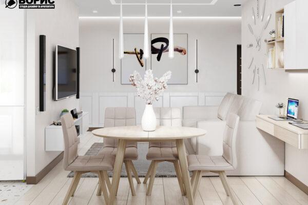 Дизайн-проект интерьера квартиры по пр. Науки, гостиная со столом и стульями