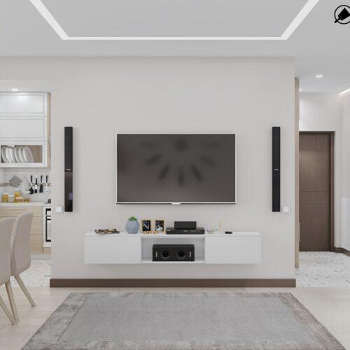 Дизайн-проект інтер'єру квартири по пр. Науки, вітальня з видом на телевізор