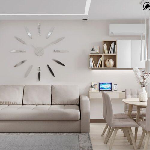 Дизайн-проект интерьера квартиры по пр. Науки, гостиная с видом на диван и часы