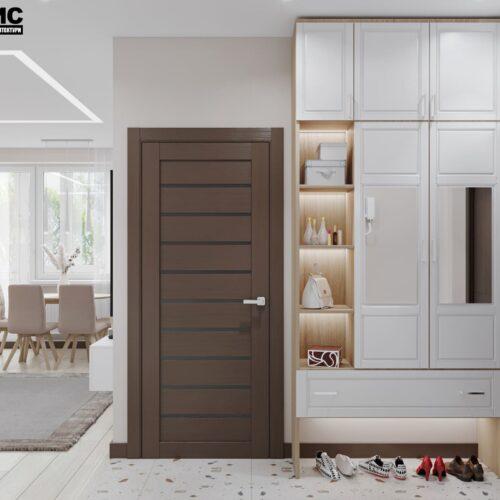 Дизайн-проект інтер'єру квартири по пр. Науки, вітальня з видом на полички