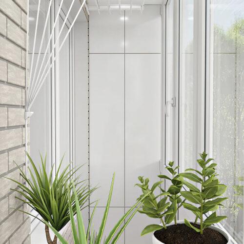 Дизайн-проект интерьера квартиры по пр. Науки, балкон с видом на цветы
