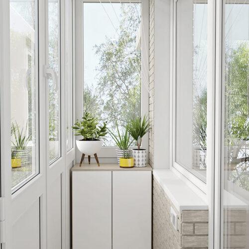 Дизайн-проект интерьера квартиры по пр. Науки, балкон с видом в левую сторону
