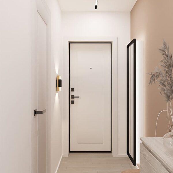 Дизайн-проект интерьера квартиры по улице Полтавский Шлях, гостиная с видом на вход